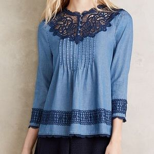 Anthropologie | Holding Horses Laced Chambray Top